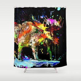Moose Grunge Shower Curtain
