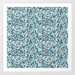 Blue White Yellow Tiling Colored Squares Art Print