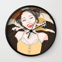 Fashion Graphic Girl with a Bright Smile, Abstract hand drawn shapes background Wall Clock