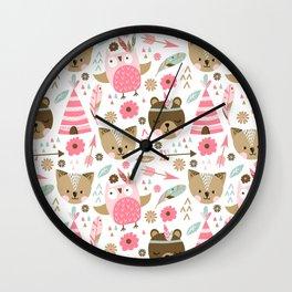 Pink Boho Animals Wall Clock