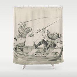 Vintage Funny Fishing Trip Illustration (1882) Shower Curtain