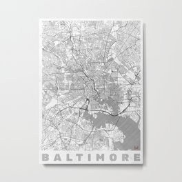 Baltimore Map Line Metal Print