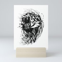 Fierce Roaring Bengal Tiger Artistic Gift Mini Art Print