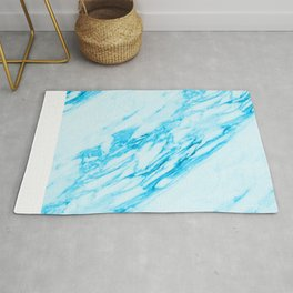Blue and Cream Marble Pattern Rug