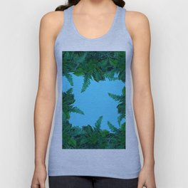 GREEN & BABY BLUE  FERN LEAVES ART Unisex Tank Top
