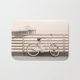 Bicycle at Manhattan Beach Pier, Riding Bikes at the Beach, Beach Art Print, California Summer Bath Mat