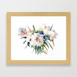 White Peonies, Asian Watercolor design Garden Peonies White lofral art Framed Art Print