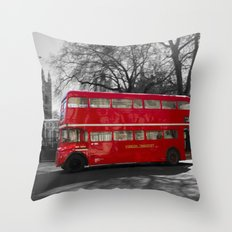 Red Routemaster bus Throw Pillow