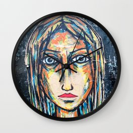 art street portrait Wall Clock