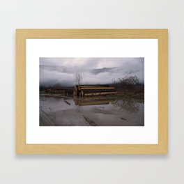 Timber Logs With A Foggy Mountain View Framed Art Print