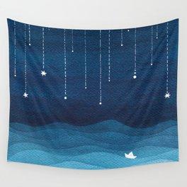 Falling stars, blue, sailboat, ocean Wall Tapestry