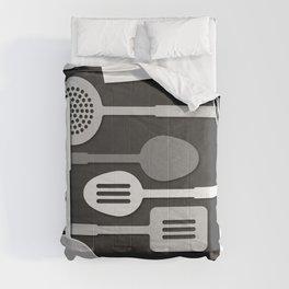 Kitchen Utensil Silhouettes Monochrome III Comforters