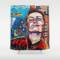 selfie Shower Curtains featuring Selfie by camilletheriot