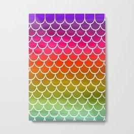 Rainbow Mermaid Scales Metal Print