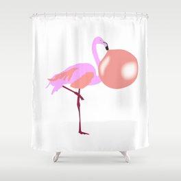 Bubble Gum Flamingo Blowing Bubble Shower Curtain