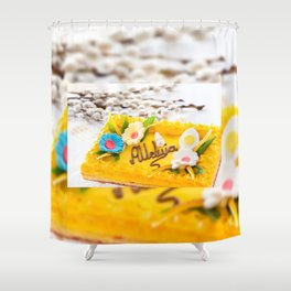 yellow decorative Easter cake Shower Curtain