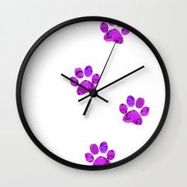 Purple Paw Prints Rose Wall Clock