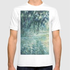 1898-Claude Monet-Morning on the Seine- 73 x 91 White MEDIUM Mens Fitted Tee