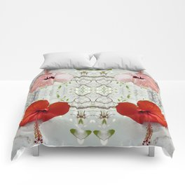 Passion for red_white symmetry Comforters