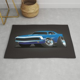 Classic Sixties Style American Muscle Car Hot Rod Cartoon Rug