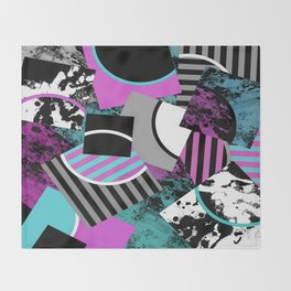 Cluttered Sqaures - Abstract, geometric, stripes, pink, cyan, blue, textured, black, white, arcs Throw Blanket