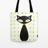 mid century Tote Bags featuring Mid Century Cat  by Laura Ruth