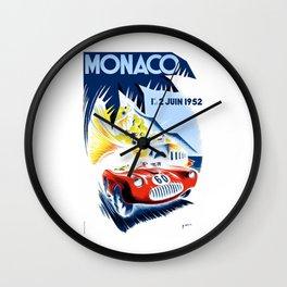 1952 Monaco Grand Prix Race Poster  Wall Clock