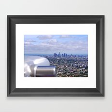 Peeping into Downtown Framed Art Print