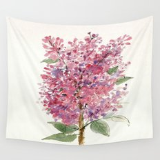 Pink Lilacs Watercolor Garden Nature Art Wall Tapestry