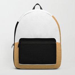 Black White Gold Color Blocks Backpack