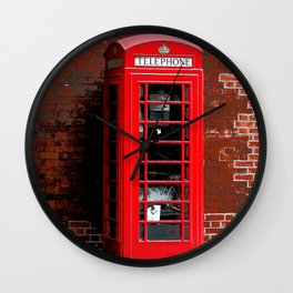 Red Phone Box- London England UK Wall Clock