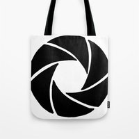 aperture Tote Bags featuring Aperture by PlayWithFireDieInIce