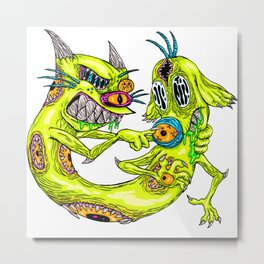 Cat Monster Dog Metal Print