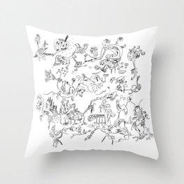Black jook doodles Throw Pillow