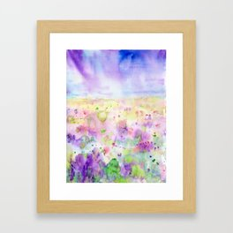 Watercolor abstract meadow Painting Framed Art Print