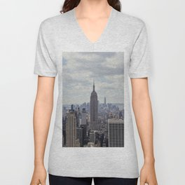 New York State of Mind view, Empire State building | The beautiful NYC from above on top of the Rock Unisex V-Neck