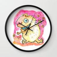 guinea pig Wall Clocks featuring Guinea Pig Monster by Scalmato Studio