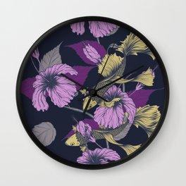 Purple Floral Koi Pattern Wall Clock