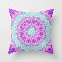 girly Throw Pillows featuring Girly mandala by David Zydd