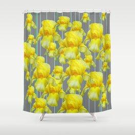 OODLES OF YELLOW IRIS GREY GARDEN ART Shower Curtain