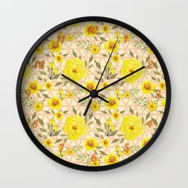Country Yellow Flowers on the Trellis Wall Clock