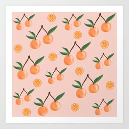 Fruity Oranges Pattern in Peach Pink  Art Print
