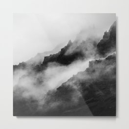 Foggy Mountains Black and White Metal Print