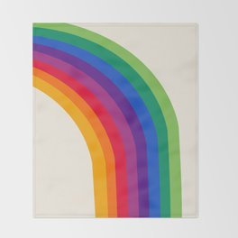 Groovy - rainbow 70s 1970s style retro throwback minimal happy hippie art decor Throw Blanket