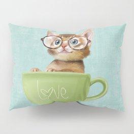 Kitten with glasses Pillow Sham