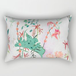 Abstract Jungle Floral on Pink and White Rectangular Pillow