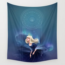 Blue Princess with aurora Wall Tapestry