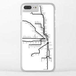 Chicago CTA Map, Chicago Map Art, CTA Art, Chicago Wall Art, Chicago Art, L Train, Art Print Clear iPhone Case