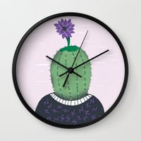 cactus Wall Clocks featuring Cactus by Rodrigo Fortes