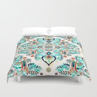 folk Duvet Covers featuring Modern Folk in Jewel Colors by micklyn